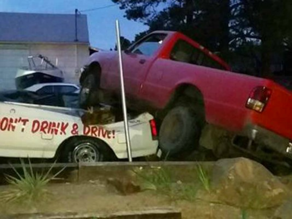 DUI Irony: Alleged Drunk Driver Hits Truck With DUI Warning On It